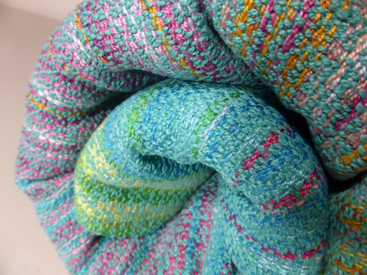 Colours of India baby wrap Turquoise cottolin and Lake Combo cotton weft, close-up 3