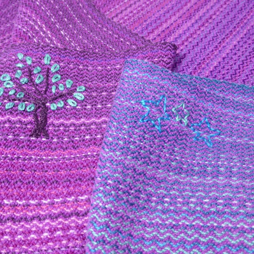 Stone Plum wrap with Berry Crush hand-dyed Mulberry spun silk and vertical twill weave, middle markers