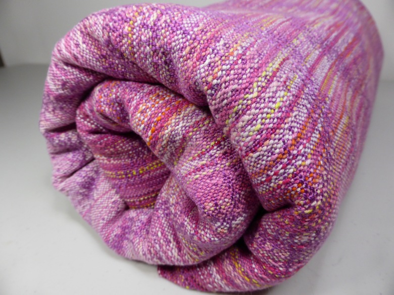 Lindavia wrap, magenta tencel weft, crackle weave, bundle