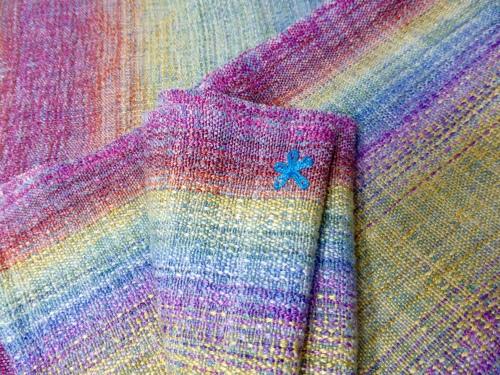 Rainbow End wrap #7, bourette silk weft, crackle weave, midlle markers