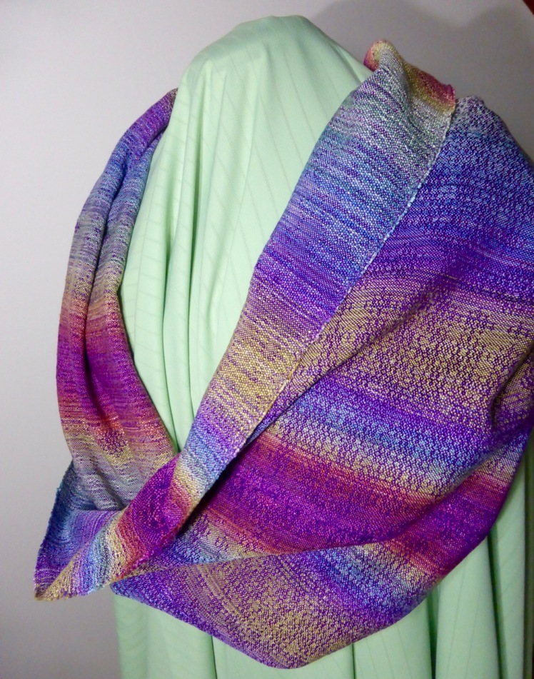 Rainbow End, loop scarf, purple merc cotton weft, crackle weave