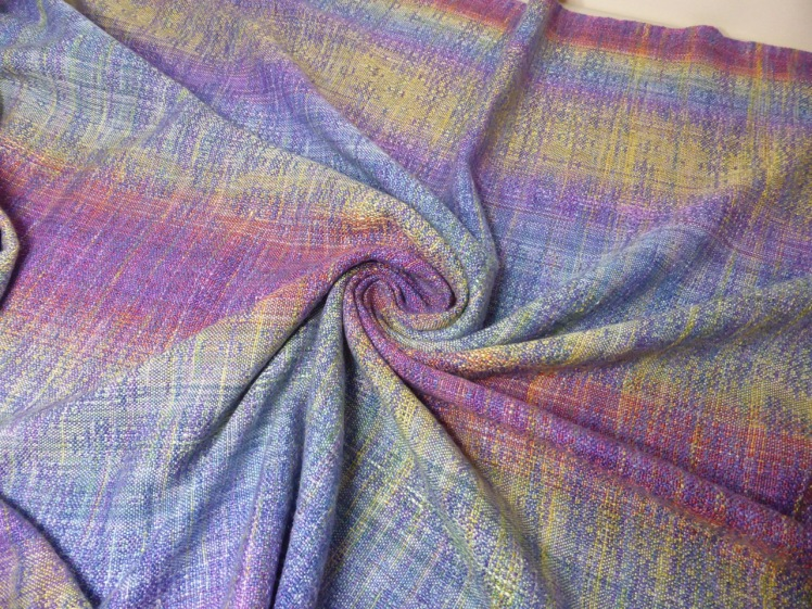 Rainbow End wrap #4, Mulberry silk weft, crackle weave, whirl
