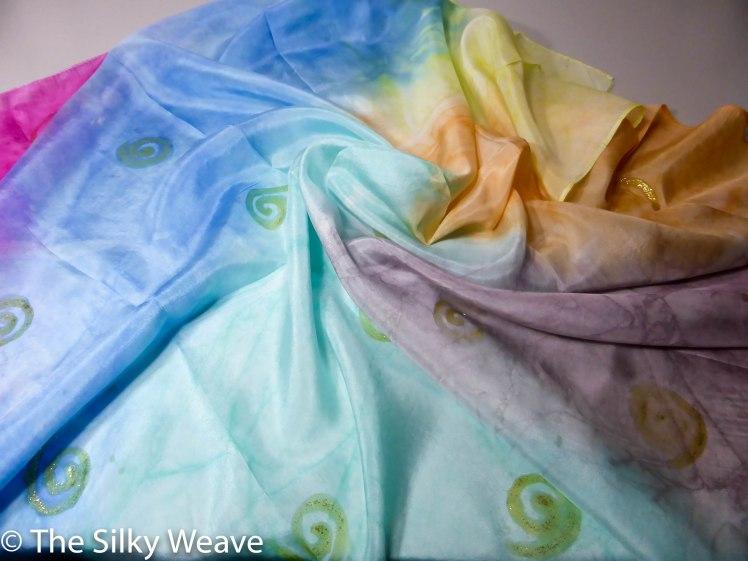 Spiral silk scarf